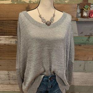 Silver metallic sweater by:  Cynthia Steffe
